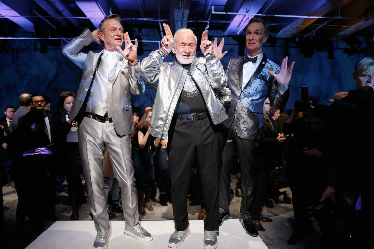 Bill Nye the Science Guy & Buzz Aldrin on the Runway
